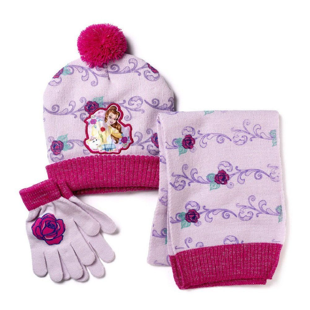 Disney Princess Girls Snow Hat and Mittens Cold Weather Set Age 4-7
