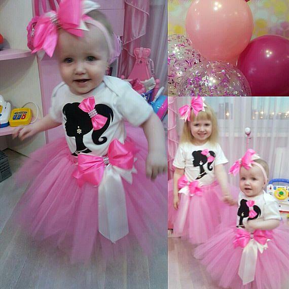 Barbie Zebra Theme 1st And 5th Birthday: Barbie Chica Rosa Tutú Traje Traje De Niña De Barbie
