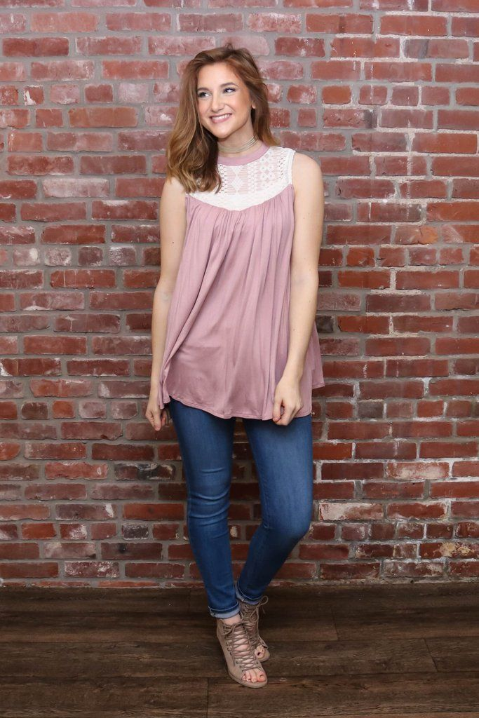 Rose Sleeveless Top W/Lace Neckline