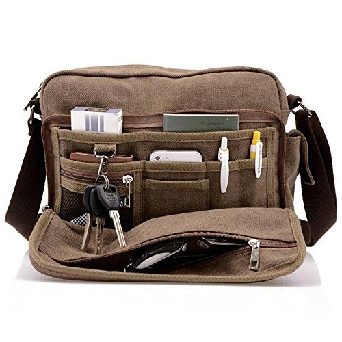 Men Casual Canvas Bag Mens Crossbody Bags For Men Messenger Bag Man Shoulder Bag Masculina Multifunction,Coffee
