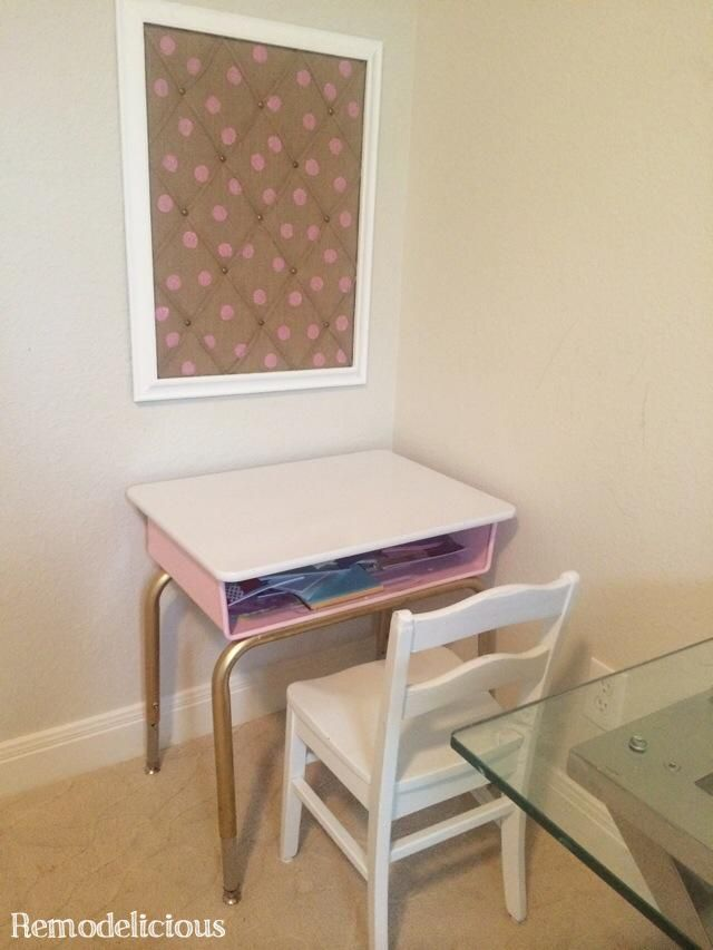 DIY Bulletin Board Make-Over with chalk paint and whimsical pearlescent polka dots in white and pink with burlap - a great solution for little kids to display their own artwork & keepsakes. | remodelicious.com