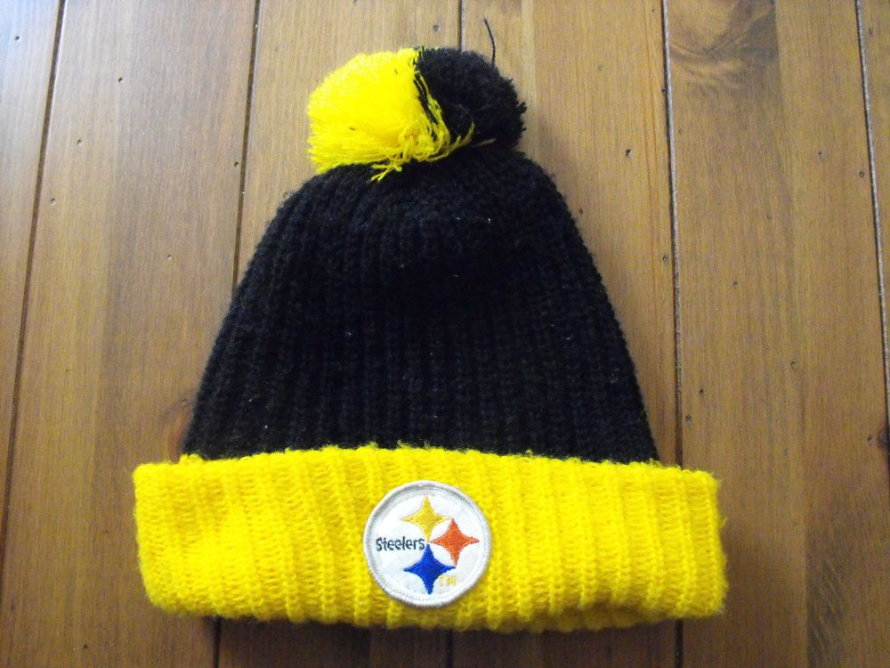 Vintage Pittsburgh Steelers Knit Pom Top Cuffed Winter