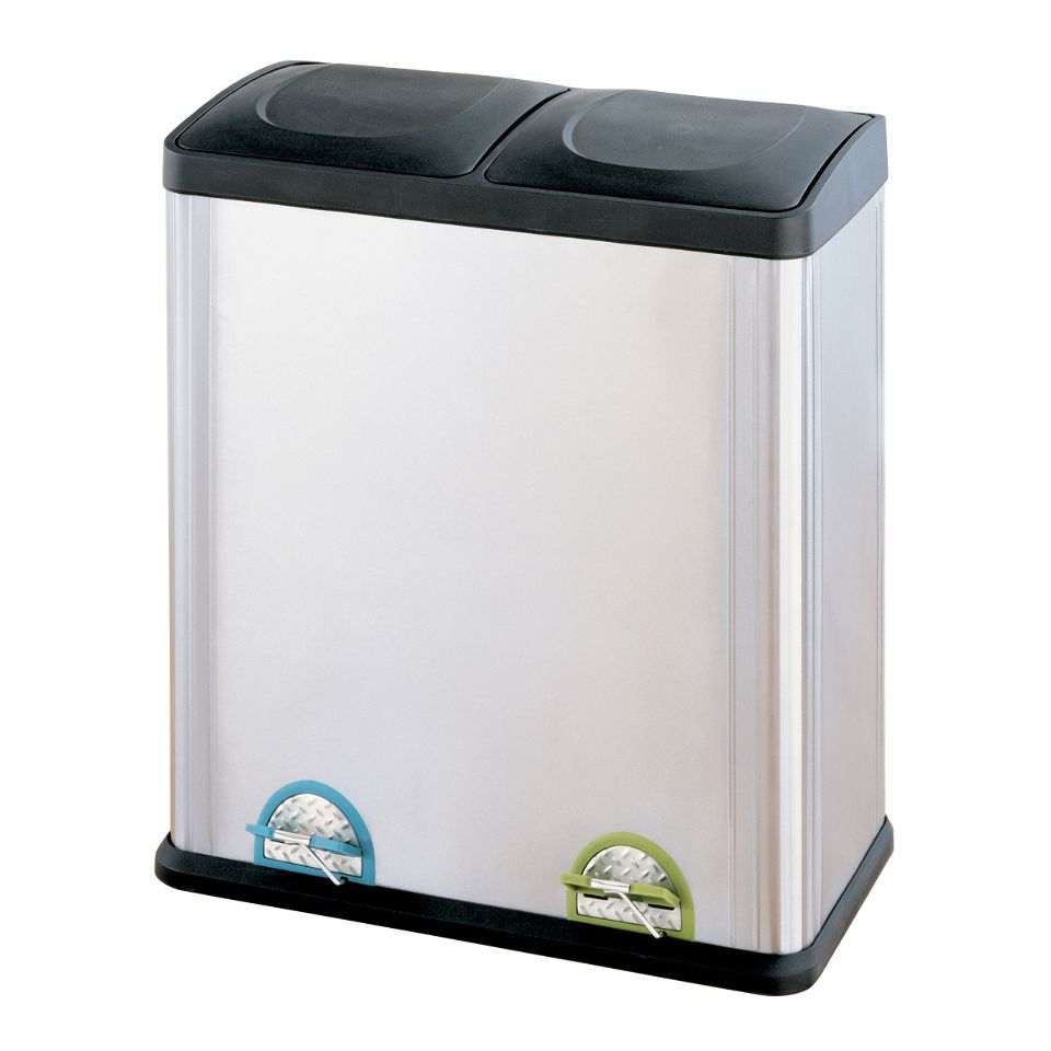 Organize It All 60L 2 Compartment Step-On Recycling Bin
