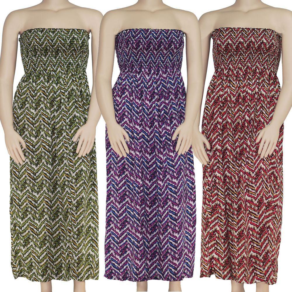 Womens Plus Size Chevron Print Smocked Maxi Tube Top Dress Green ...