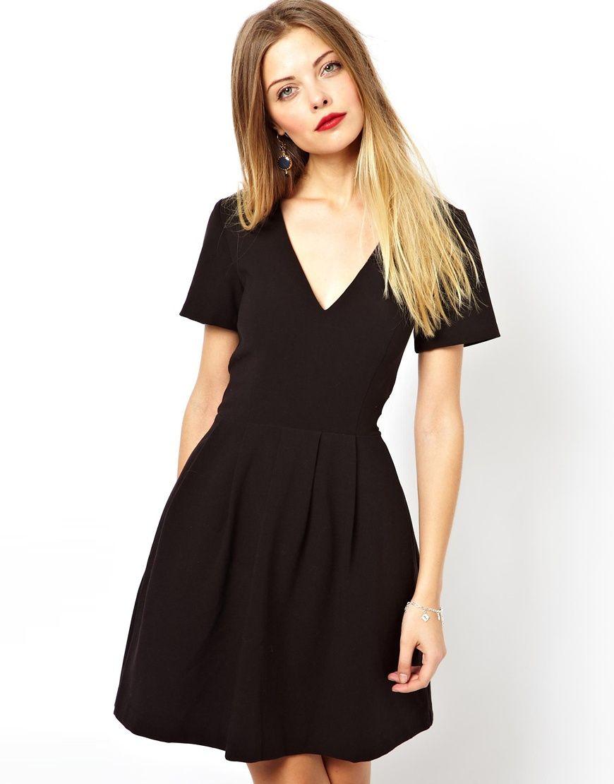 Asos Asos V Neck Structured Skater Dress At Asos Lil Black Dress Skater Dress Dresses [ 1110 x 870 Pixel ]