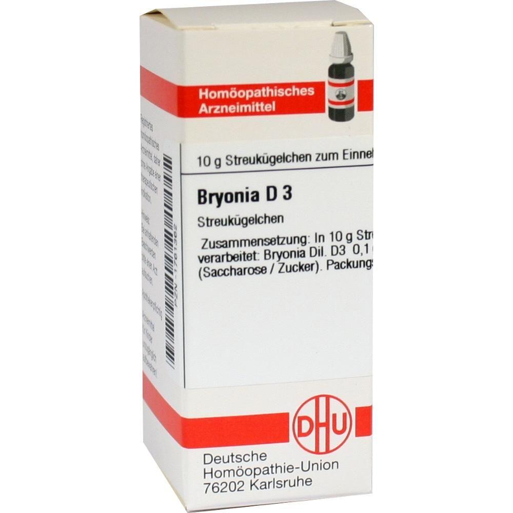BRYONIA D 3 Globuli:   Packungsinhalt: 10 g Globuli PZN: 01761362 Hersteller: DHU-Arzneimittel GmbH & Co. KG Preis: 5,19 EUR inkl. 19 %…