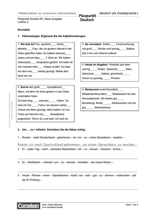 Pluspunkt Deutsch Lektion 2 Kontakte Arbeitsblatt B1 Gesamtband Lernen Tipps Schule Lektion Deutsch