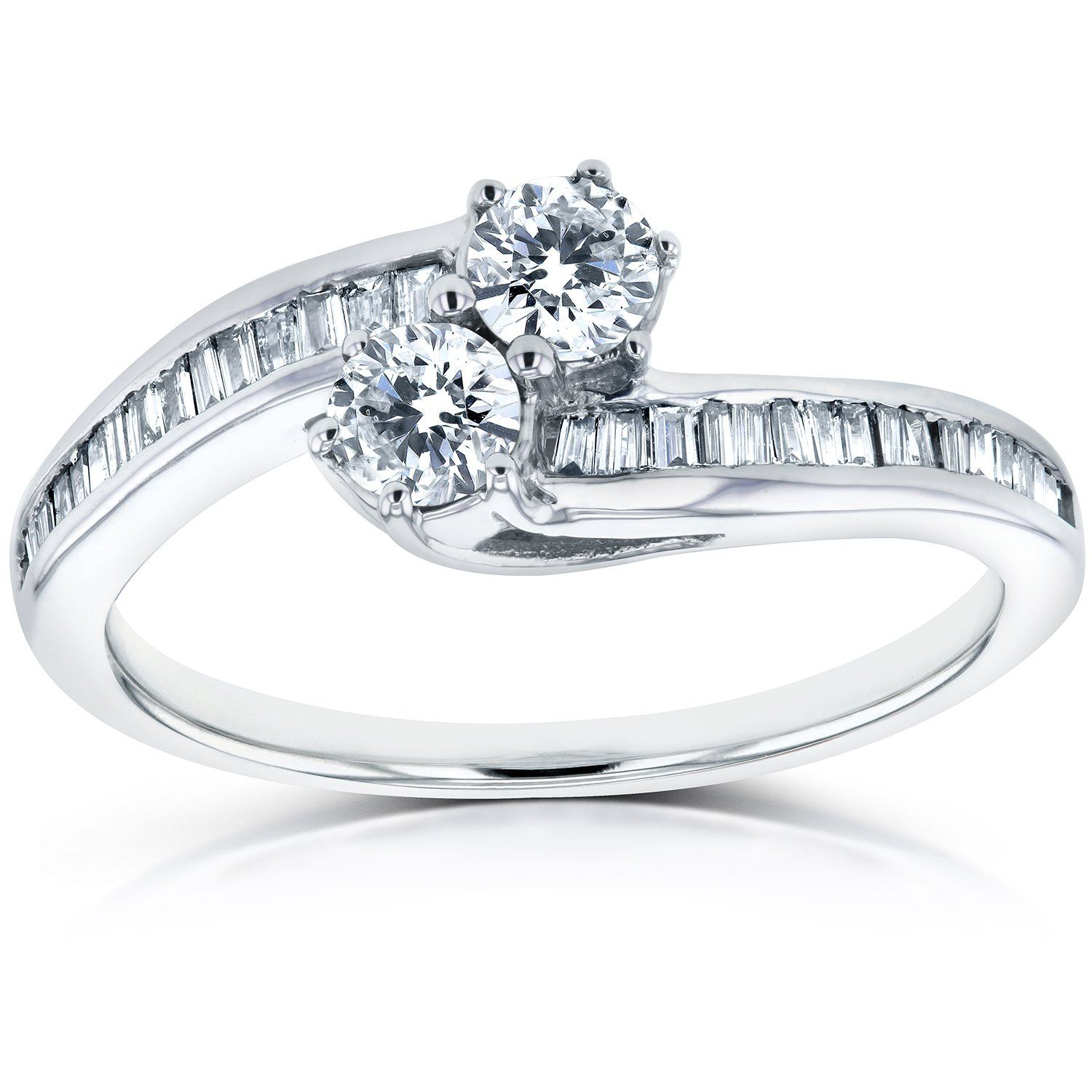 Two Stone Diamond Ring 1/2 ctw in 14k White Gold Ring,