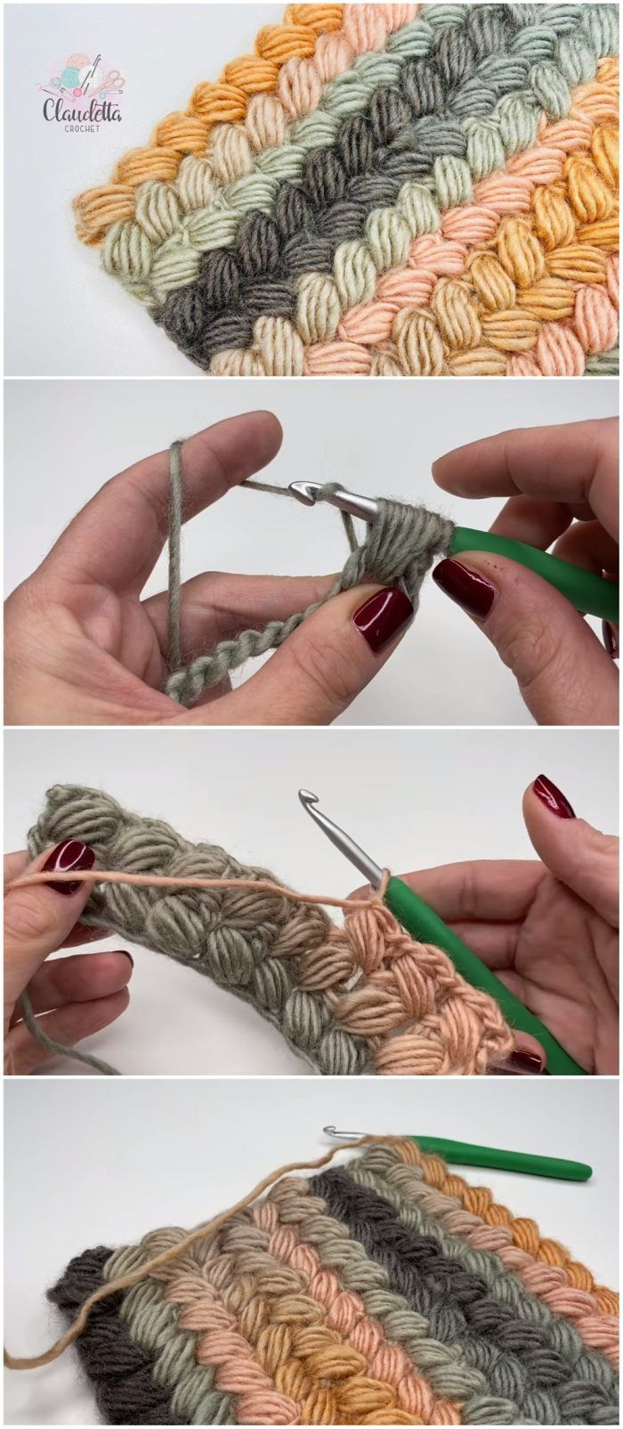 Photo of How to crochet the braided puff stitch – – #the #braided # crochet #man …