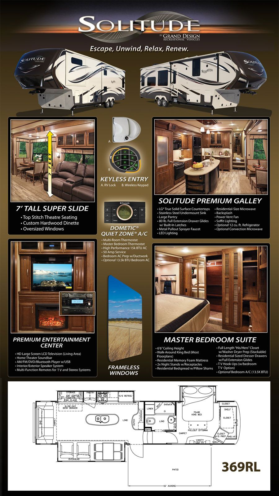 5th wheel master bedroom  Solitude Fifth Wheel by Grand Design RV itus beautiful  New