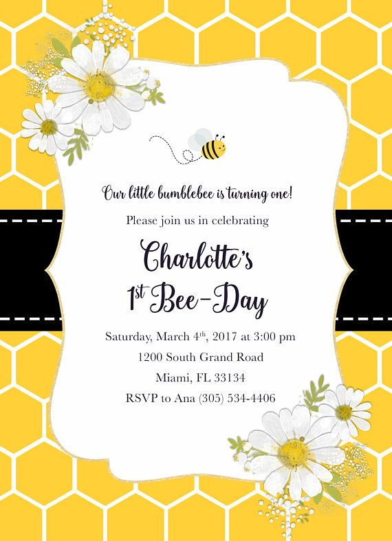 bee birthday party invite