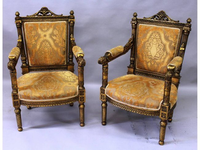 A pair of Louis XVI design gilt wood fauteuils, with : Lot 642 ...
