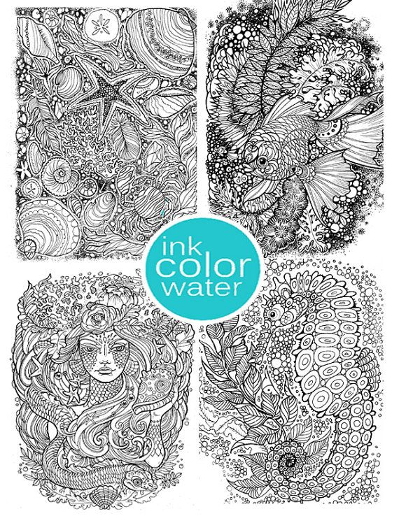 Rich detail ocean coloring oage set https://www.etsy.com/listing ...