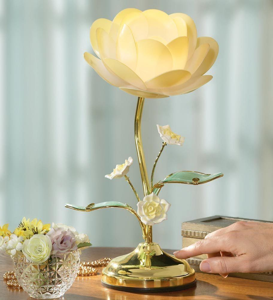 Table Touch Lamp Rose Lotus Petal Stem Flower Electric Light Lite Desk Bedside Flower Lamp Touch Lamp Touch Table Lamps