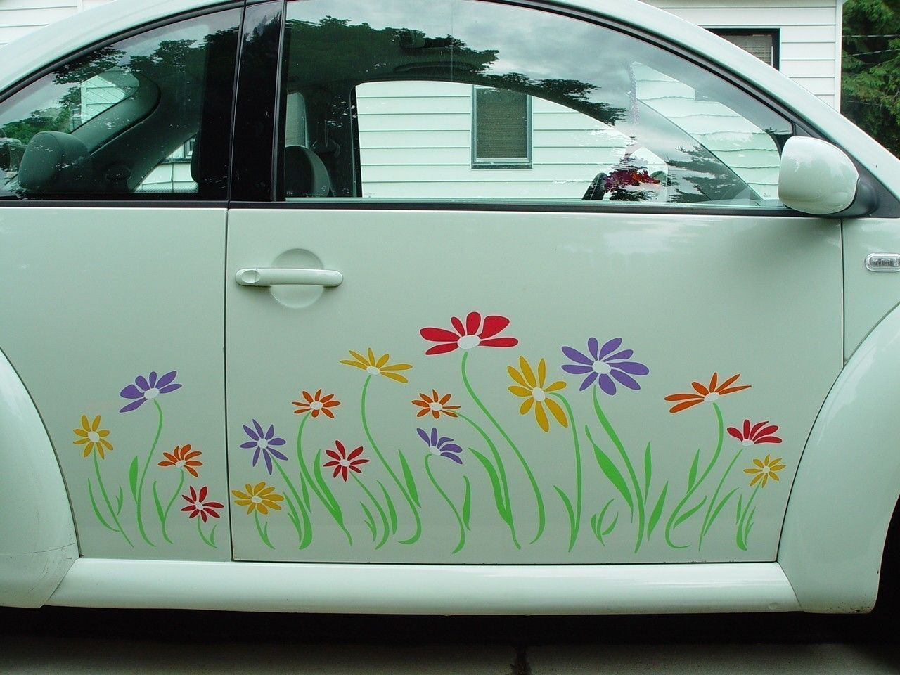 Volkswagon Beetle Side Panel Daisy Vinyl Decal Stickers In - Flower custom vinyl decals for car