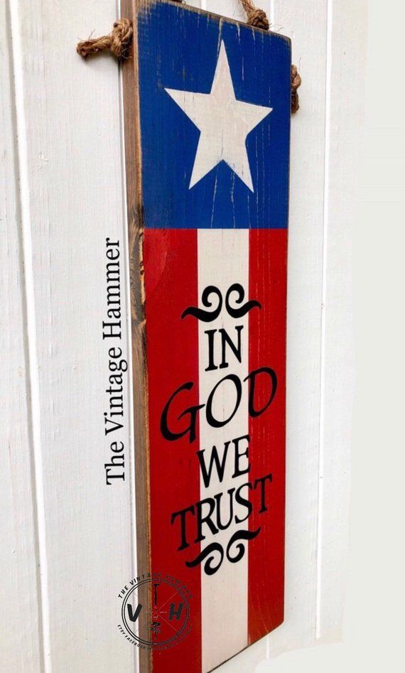 American Flag Sign In God We Trust wood sign sayings porch ...