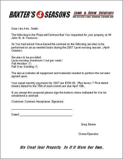 printable sample lawn service contract form laywers template forms