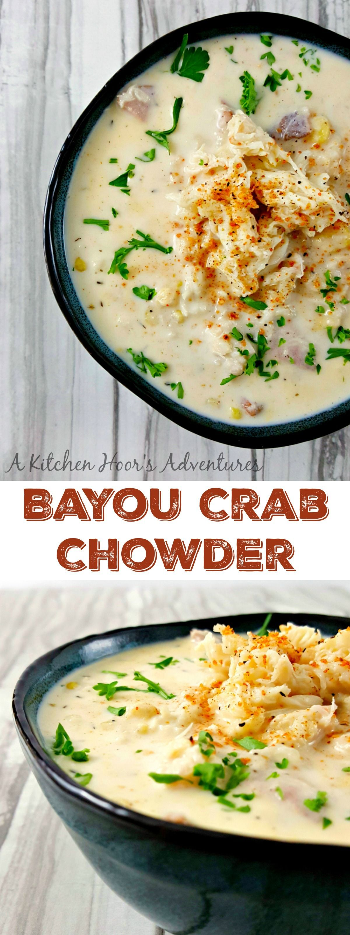 Bayou Crab Chowder is bowl of Cajun flavored deliciousness. There's hearty potatoes, sweet corn, smoky sausage, kicked up Cajun spices, and finally succulent crab in this seafood Cajun party in a bowl. #cajundishes