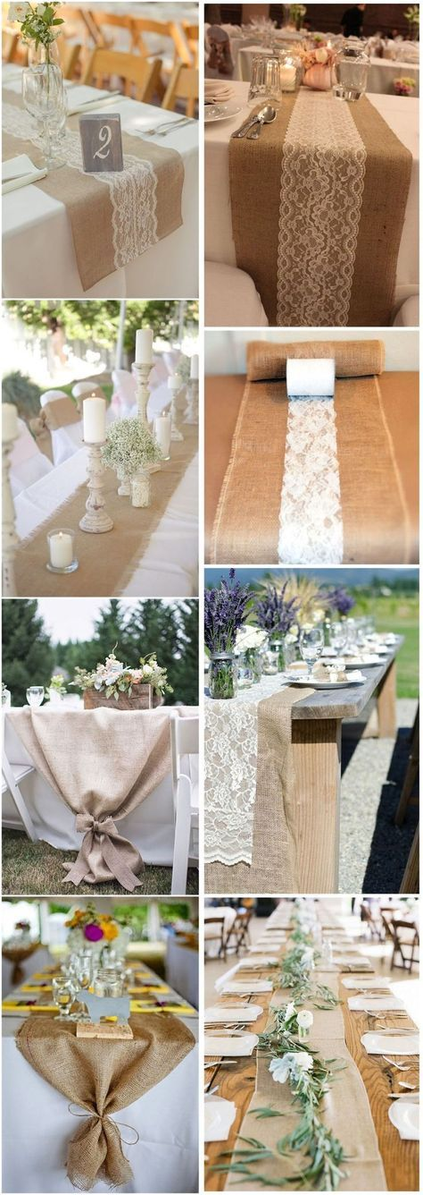 22 Rustic Burlap Wedding Table Runner Ideas You Will Love - WeddingInclude