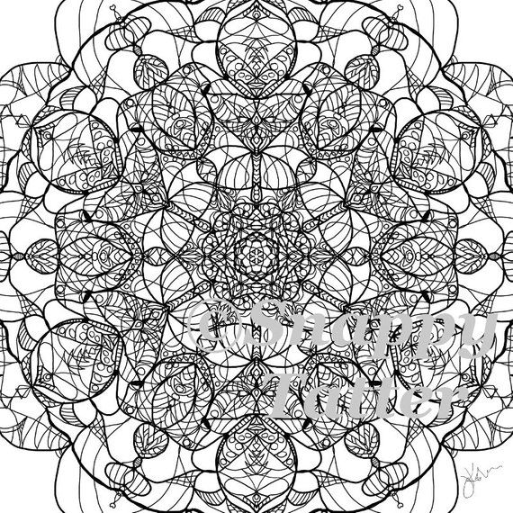 New Handdrawn Adult Coloring Stained Glass Mandala By