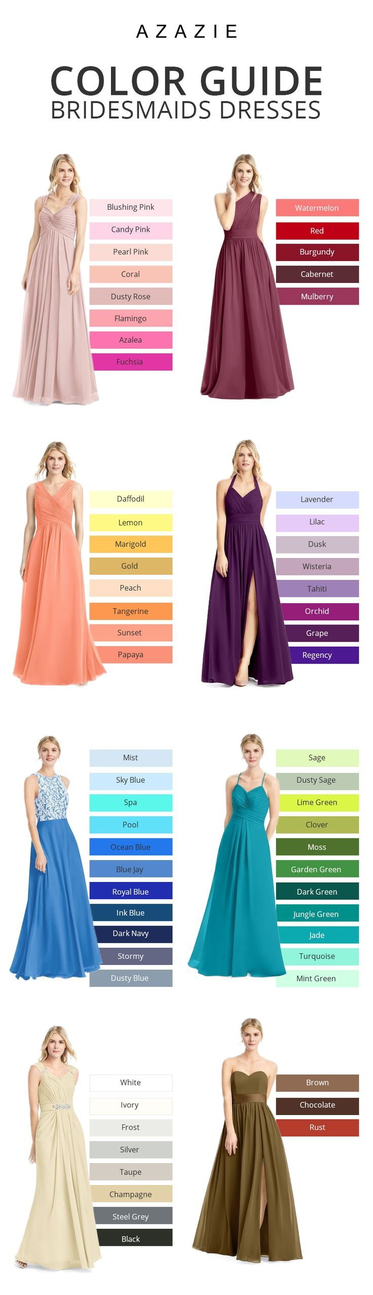 A bride's best friend! Azazie offers 70+ colors for you to choose from, We also provide more than 400+ trendy styles for you to choose from. Available in full size range 0-30 and free custom sizing. #fashiondresses