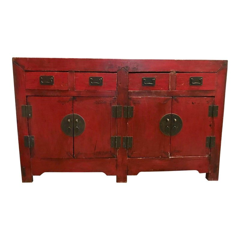 China Highboard Sideboard Red Asia Cupboard Cabinet Floorboards Sideboard Drawers Cupboard