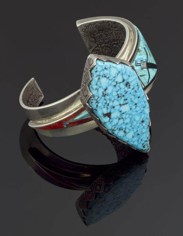 Micro inlay turquoise bracelet
