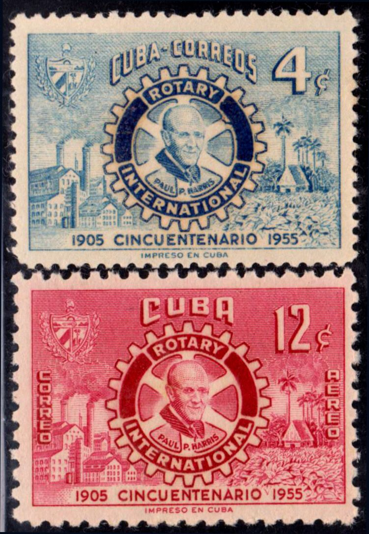 1955 Cuba Stamps Rotary Club Emblem  Paul P.Harris Complete Set NEW