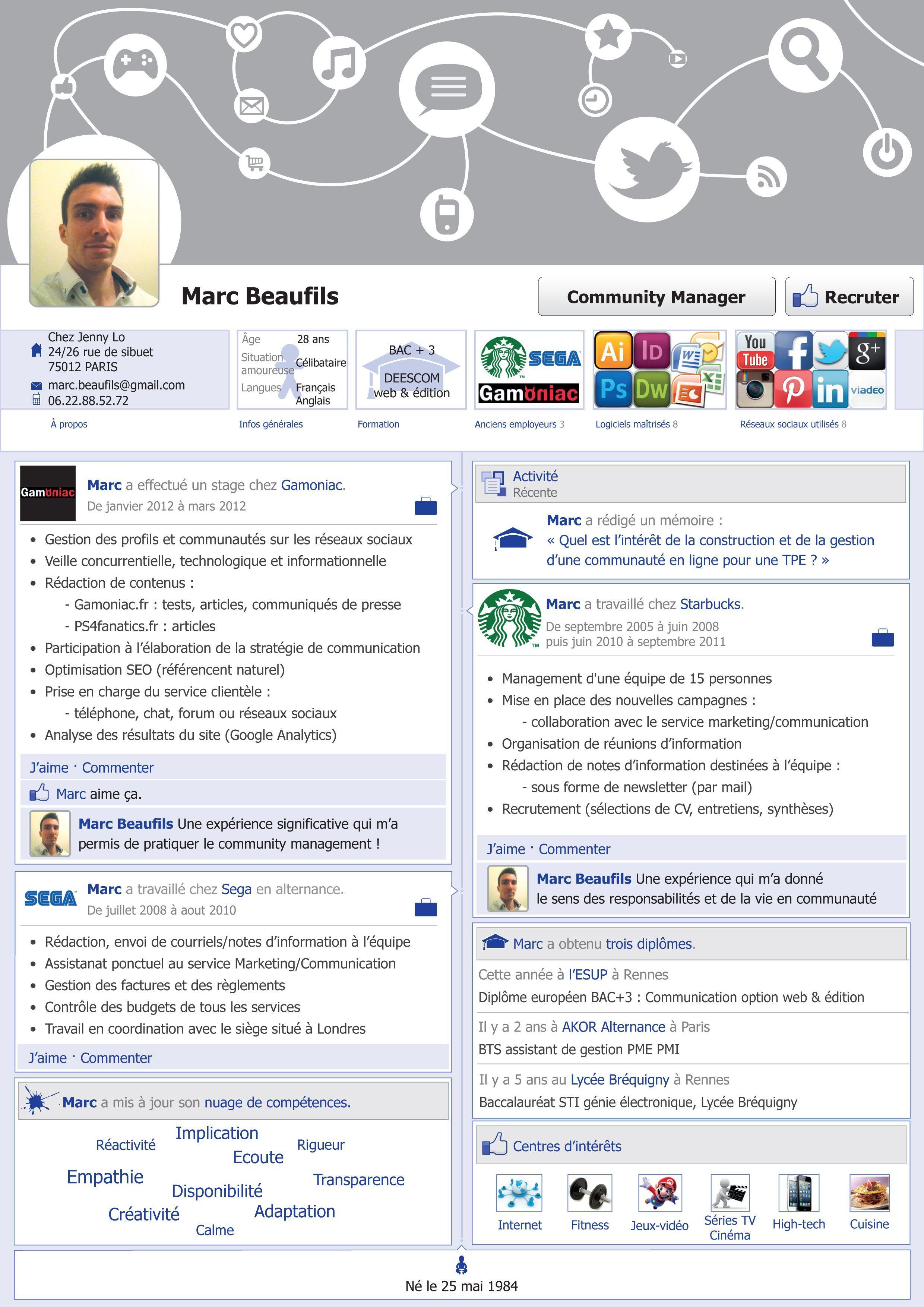 Genious Cv D Un Community Manager Cv Resume Facebook Communitymanager Community Manager Management Community