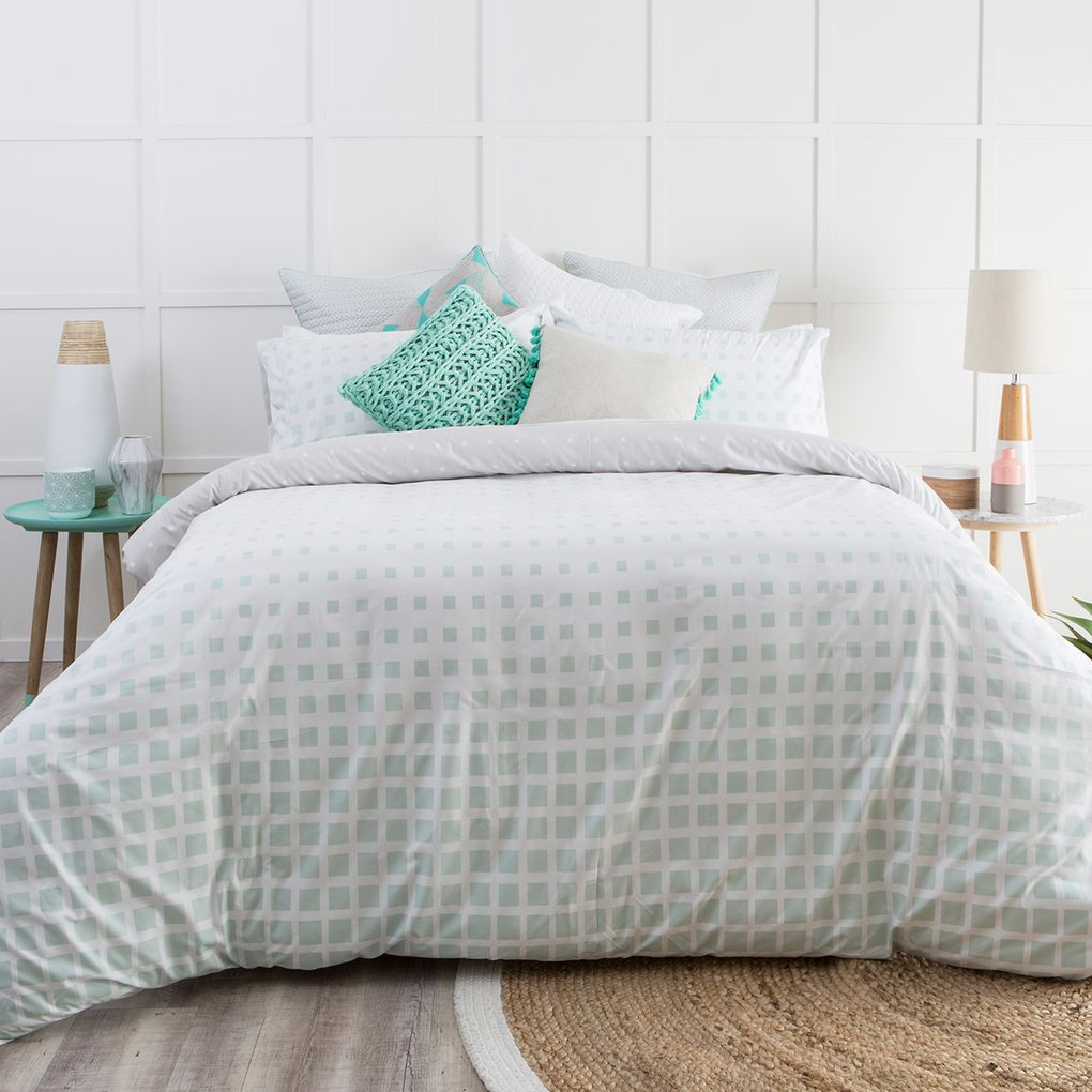 design light blue quilted htm lousa linen quilt grey