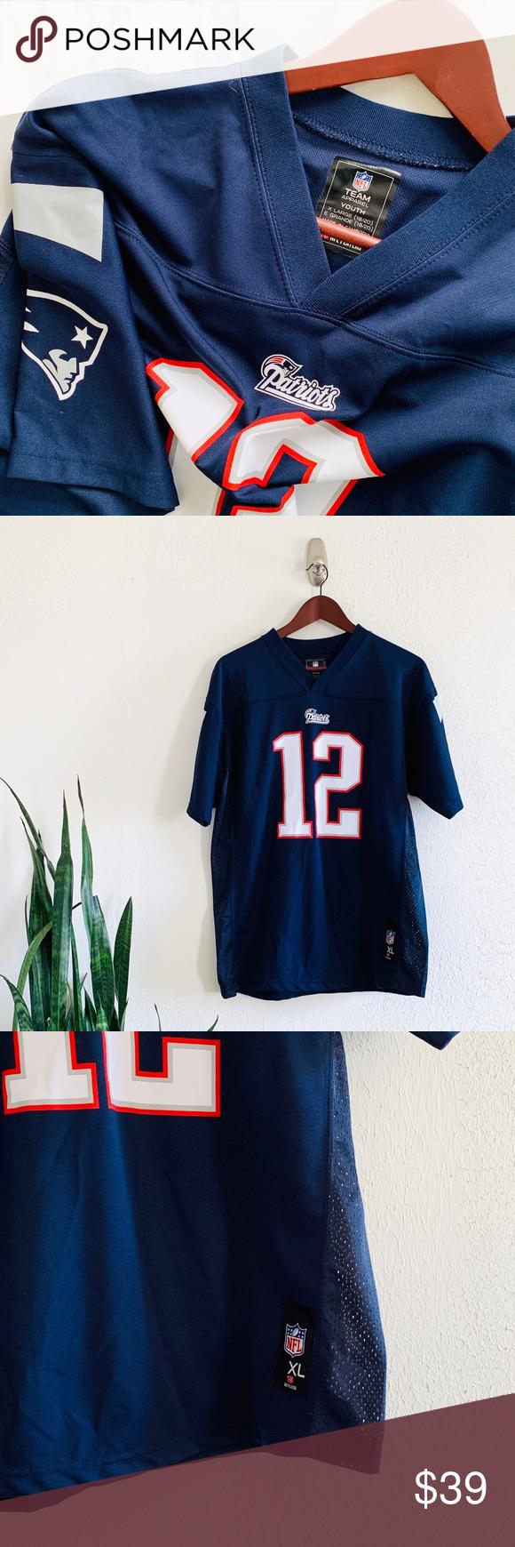 Nfl New England Patriots Blue Tom Brady Jersey Yxl Nfl New England Patriots Tom Brady Jersey New England Patriots