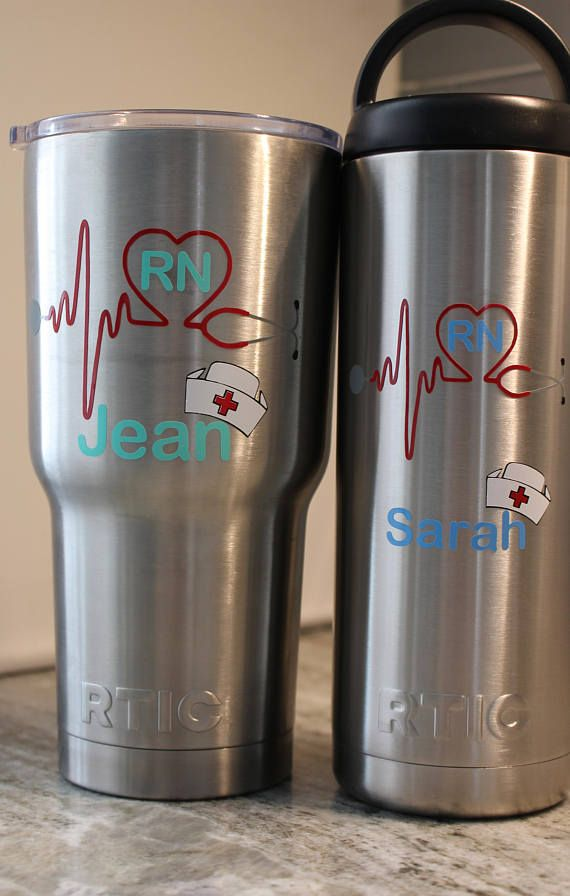 0c8f8a9fcb9 Personalized RTIC, nurse gift,with RN in heart and name under logo 30 oz.  RTIC Tumbler or 18 oz Bottle gift for, Nurse with Stethoscope Life line and  Nurse ...