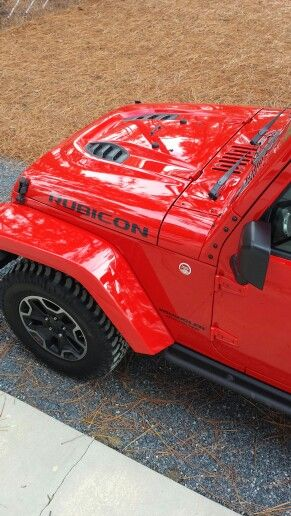 2015 Jeep Rubicon Hard Rock I Love That Hood Jeep Rubicon Red Jeep Red Jeep Wrangler