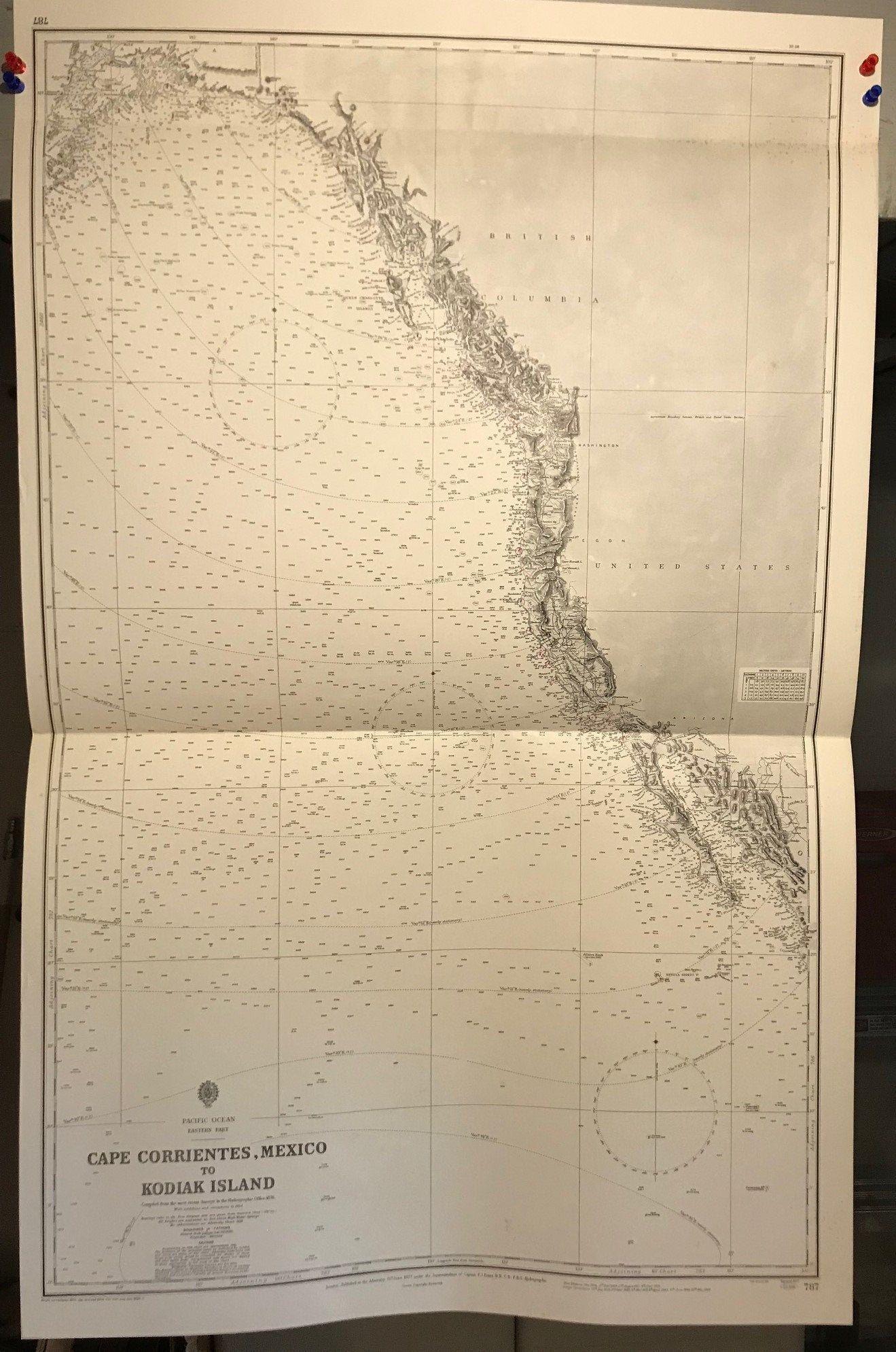 Alaska to Mexico America West Coast Navigational Chart ...