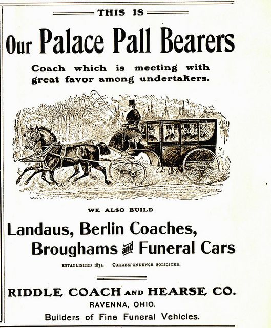 Coach Pall Bearers Vintage Advertisements Funeral Post Mortem