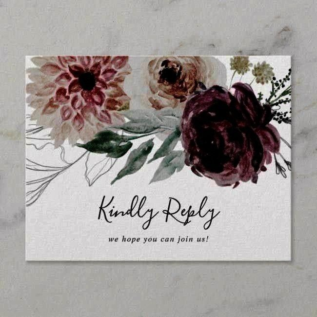 Postcard ,Floral Romance Song Request RSVP Postcard ,  Elegant Burgundy Blush Floral Wedding Thank