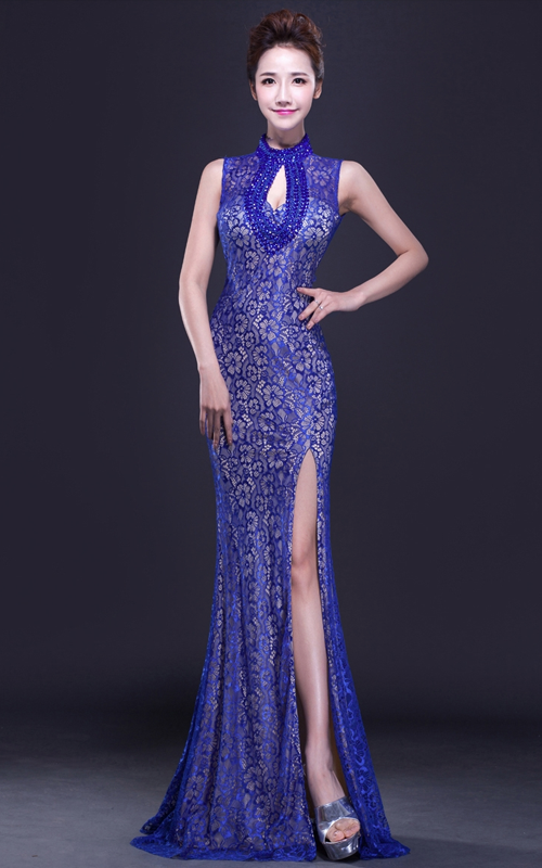 cbd6d7403 Blue floral lace sleeveless modern single slit mermaid qipao dress | Red Chinese  Dress