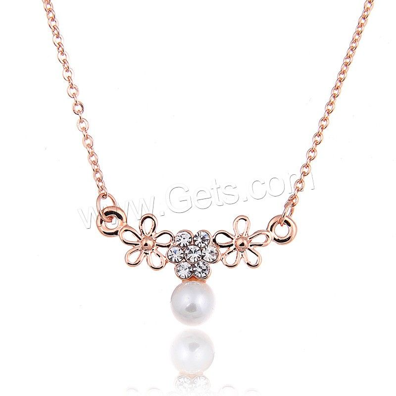 Zinc Alloy Iron Chain Necklace, with ABS Plastic Pearl & iron chain, with 4cm extender chain, Flower, rose gold color plated, oval chain & with rhinestone, lead & cadmium free, 400mm, Length:Approx 15.5 Inch, Sold By Strand