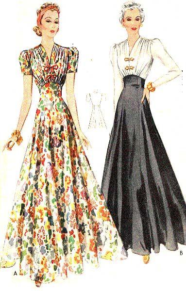McCall 3169   1939 Evening Dress   Fashion \