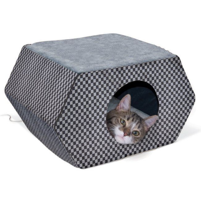 Kitty Hideout Cat Bed Heated Cat Bed Wicker Cat Bed