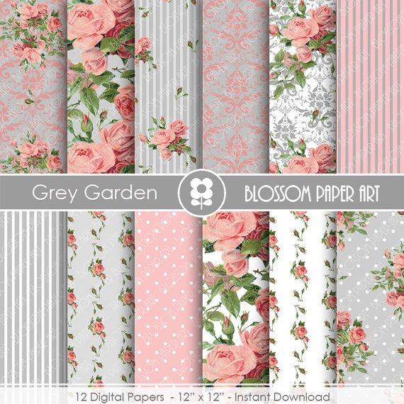 Pink and Grey Floral Digital Paper, Garden Shabby Chic Digital Paper Pack, Wedding, Scrapbooking Vintage Roses - INSTANT DOWNLOAD