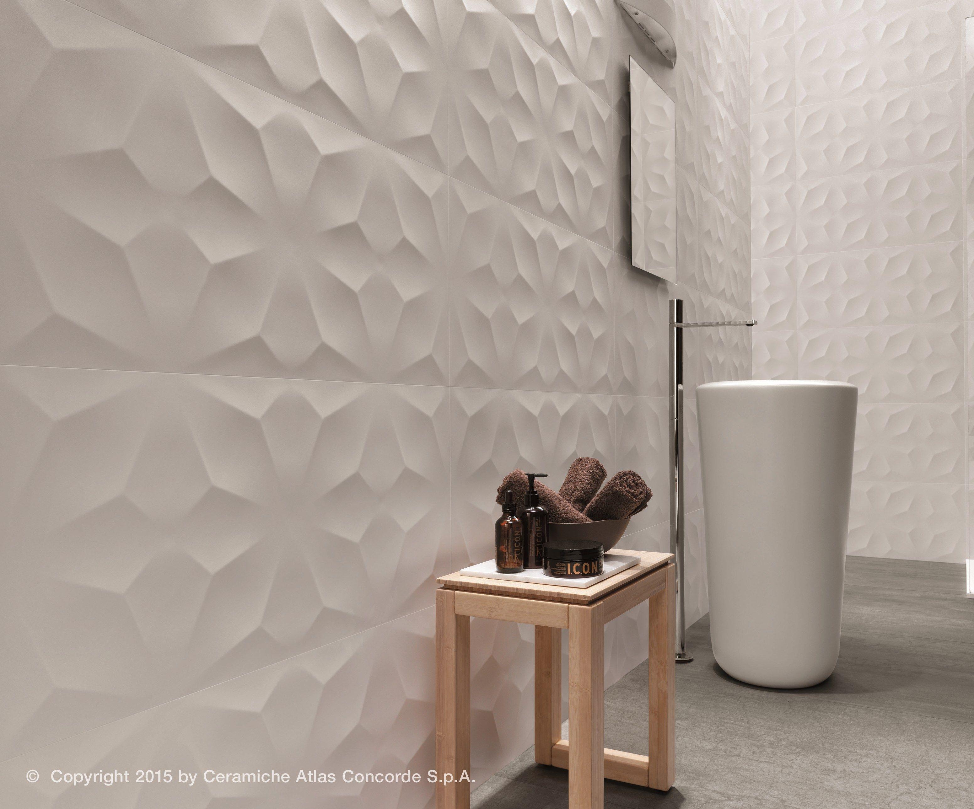 Rivestimento tridimensionale in ceramica a pasta bianca diamond collezione rivestimenti in pasta - Rivestimenti bagno design ...