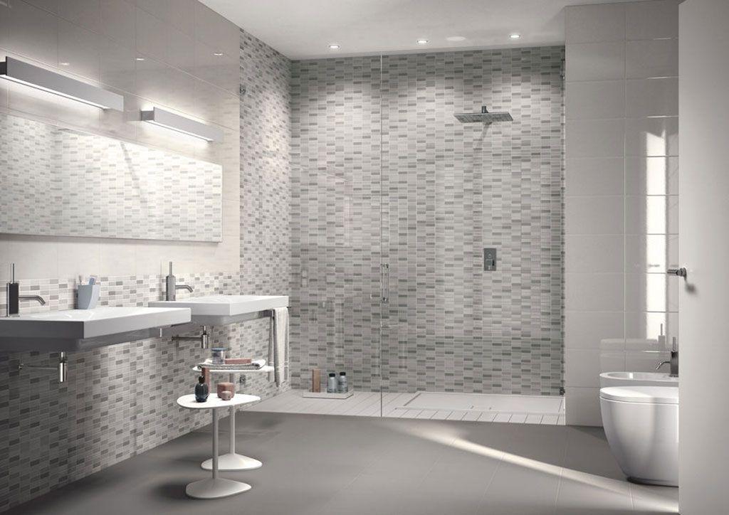 Bagno Con Mosaico Grigio Piastrelle mosaico ceramico