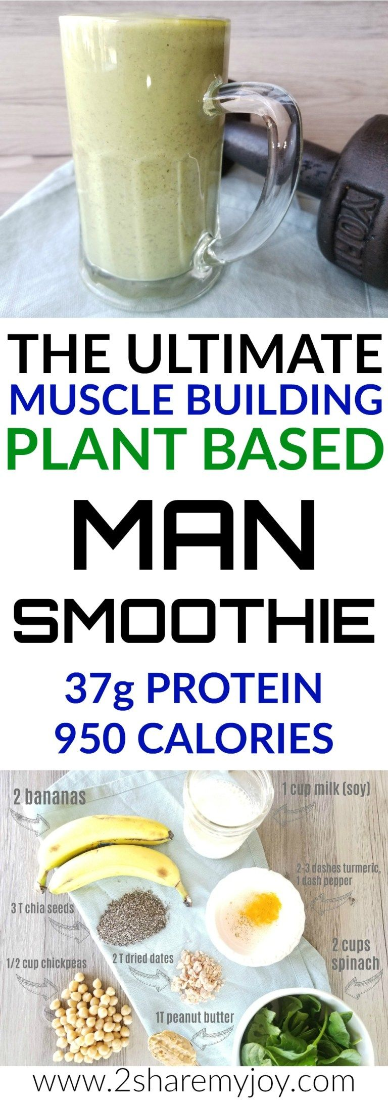 Ultimate Muscle Building Vegan Smoothie (37g protein) #protiendiet