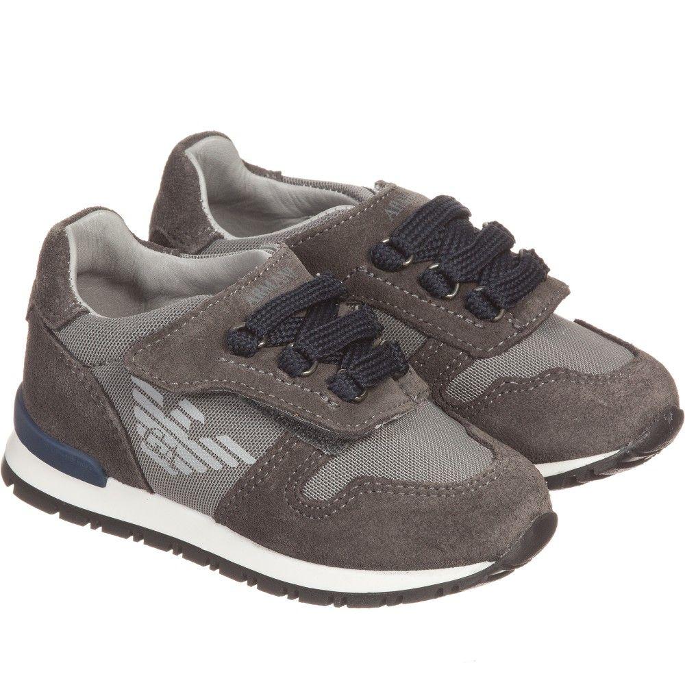 ae1547faa ARMANI BABY Boys Grey Suede Leather Trainers | Armani Junior KIds ...