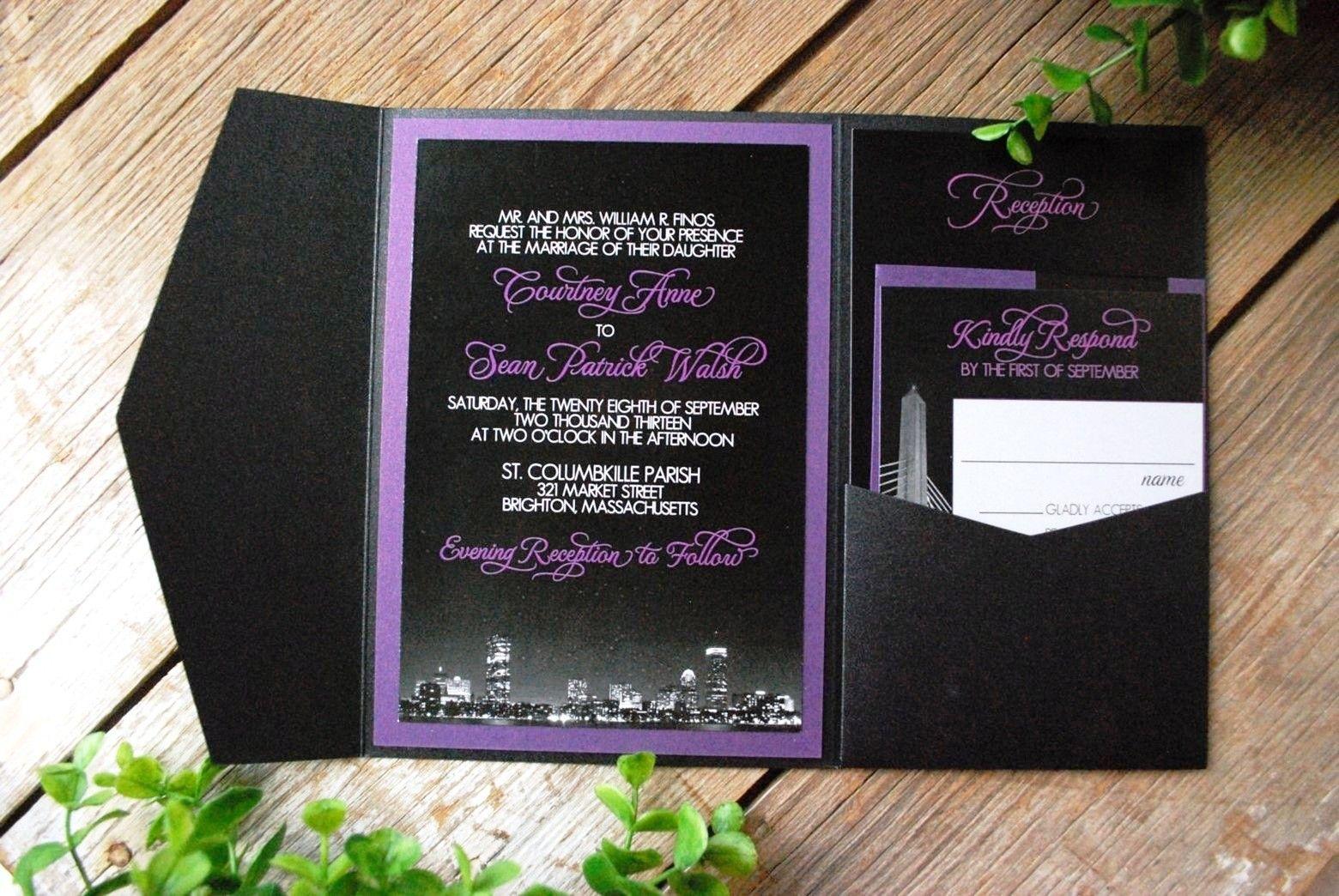 Purple And Black Wedding Invitations