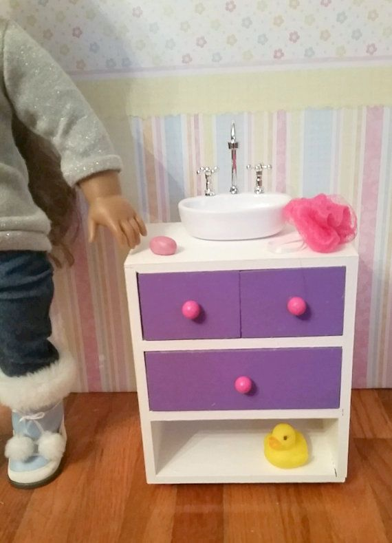 18 Inch Doll Bathroom Sink Vanity Cabinet Sink By Fuzzybuttfarm