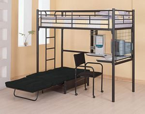 Contemporary Black Metal Twin Loft Bunk Bed W Desk Chair Futon