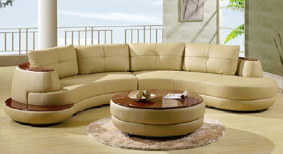 U918 Almond Leather Sectional Sofa Set Leather Sectional