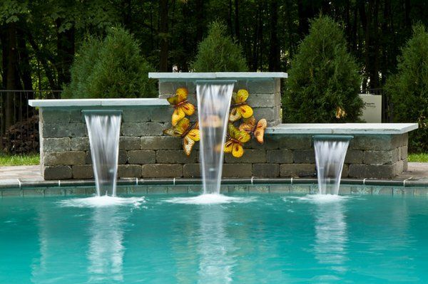 pool water features modern pools with waterfalls swimming pool design ideas. beautiful ideas. Home Design Ideas
